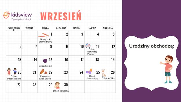 główny obrazek do Kalendarz nietypowych świąt (wrzesień) - dla nauczyciela przedszkola