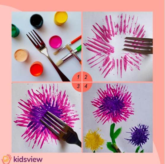 Kwiaty wykonane widelcem, inspiracje przedszkolne